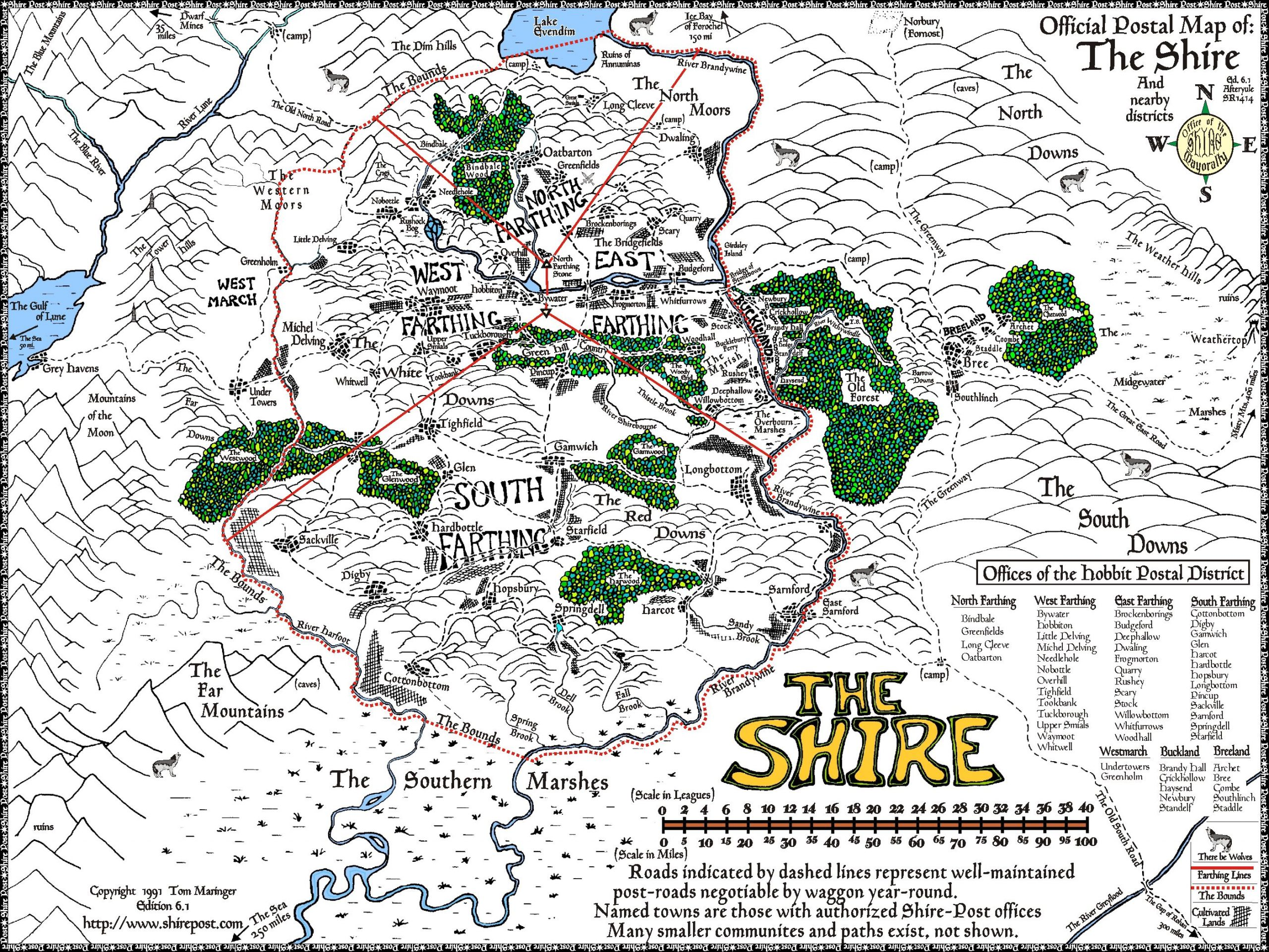 Official Postal Map of the Shire